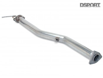 The Racing Beat catalytic converter ready to be installed on the Mazda RX-8