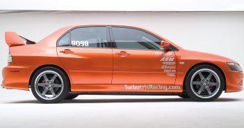 Turbotrix Mitsubishi EVO VIII first into the nines